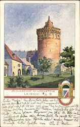 Künstler Ak Leisnig an der Freiburger Mulde, Schlosshof Mildenstein