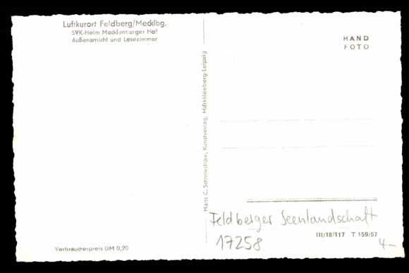 Rückseite Ansichtskarte / Postkarte Feldberg Mecklenburg,  SVK Heim Mecklenburger Hof