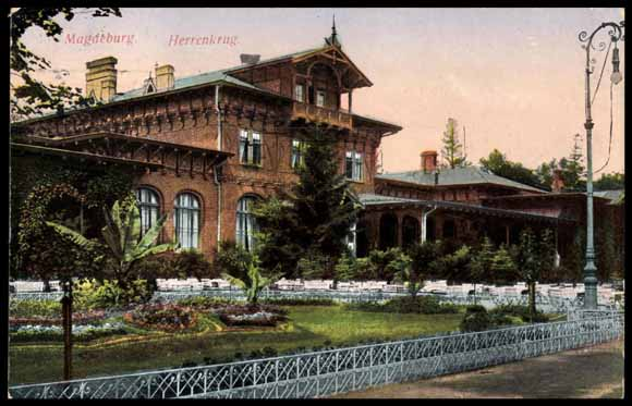 ansichtskarte postkarte magdeburg herrenkrug hotel max botz park. Black Bedroom Furniture Sets. Home Design Ideas