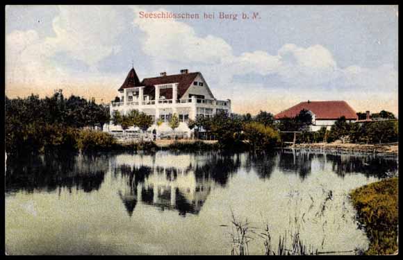 Ansichtskarte / Postkarte Burg bei Magdeburg, Blick zum Seeschlößchen, 1919
