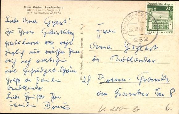 Ansichtskarte postkarte vegesack bremen bruns garten for Bruns garten leuchtenburg