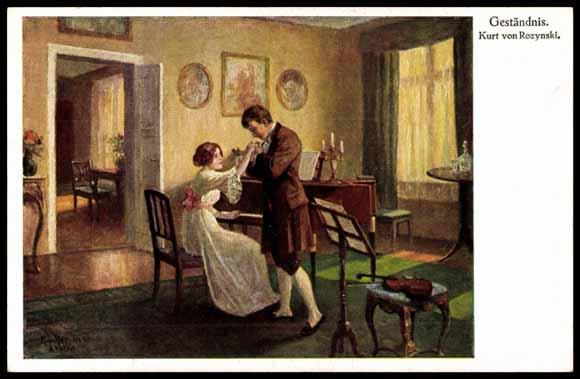 K Nstler Ak Von Rozynski Gest Ndnis Mann Und Frau