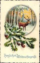 ansichtskarten weihnachten rehe hirsche elche. Black Bedroom Furniture Sets. Home Design Ideas