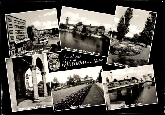 Ansichtskarte postkarte m lheim an der ruhr in nordrhein for Schwimmbad mulheim an der ruhr
