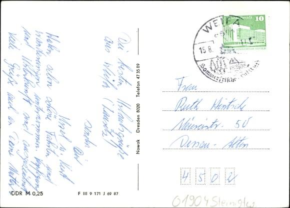 Ansichtskarte postkarte steinigtwolmsdorf sachsen for Steinigtwolmsdorf bad