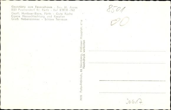 Gaststätte Tannenbaum.Ansichtskarte Postkarte Puschendorf In Mittelfranken Akpool De