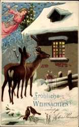 Frohe Weihnachten Jager.Ansichtskarten Weihnachten Rehe Hirsche Elche Akpool De