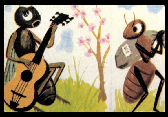 Postcard biene mit gitarre ameise la cigale et la - Dessin la cigale et la fourmi ...