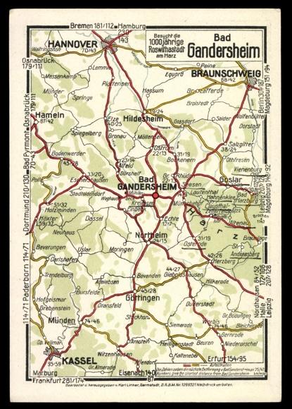 landkarten ansichtskarte postkarte bad gandersheim. Black Bedroom Furniture Sets. Home Design Ideas
