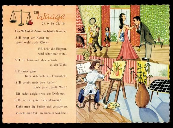 ansichtskarte postkarte sternzeichen waage mann tanzt. Black Bedroom Furniture Sets. Home Design Ideas