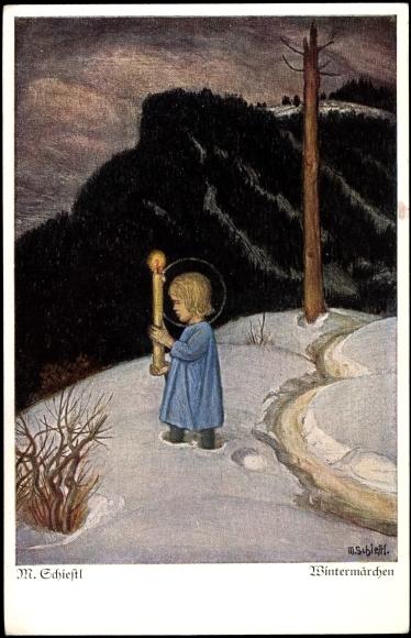 Künstler Ak Schiestl M., Wintermärchen, Engel, Kerze