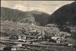 Postcard Brigue Kt. Wallis, la ville et le Simplon, une gare