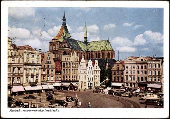 ansichtskarte postkarte rostock blick zum markt mit marienkirche zigarren. Black Bedroom Furniture Sets. Home Design Ideas