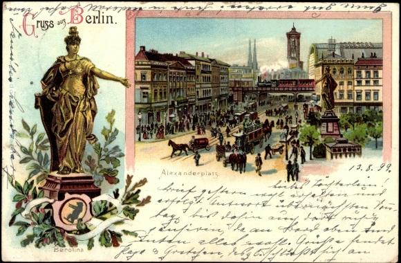 litho berlin mitte berolina statue alexanderplatz. Black Bedroom Furniture Sets. Home Design Ideas