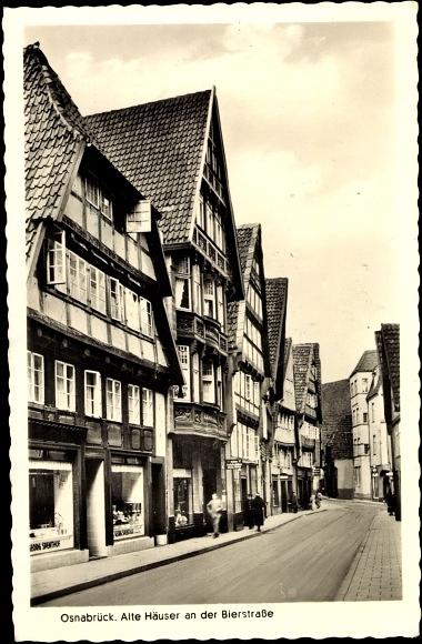 Ansichtskarte postkarte osnabr ck alte h user an der for Fachwerk vechta