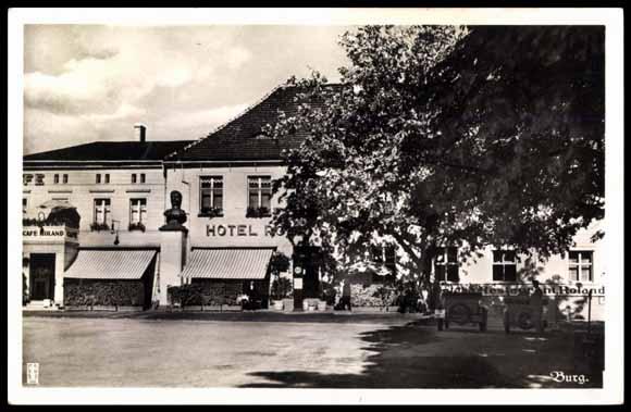 ansichtskarte postkarte burg b magdeburg hotel roland markt. Black Bedroom Furniture Sets. Home Design Ideas