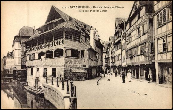 Postcard strasbourg cpa 67 rue du bain aux plantes for Rue du miroir strasbourg
