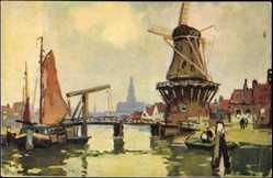 Künstler Ak Ahul, Wassermühle an einem Hafen, Boot