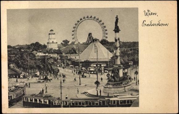 Postcard Wien 2, Praterstern, Straßenbahnen, Denkmal,  akpoolcouk -> Vintage Möbel Vienna