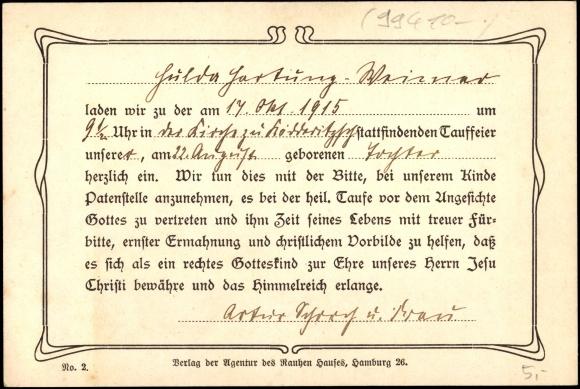Backside Postcard Einladung Zur Taufe 1915, Matthäus Mit Spruch
