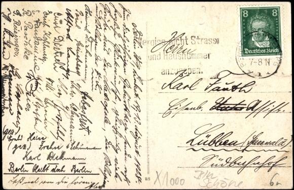 Rückseite Ansichtskarte / Postkarte Berlin Schöneberg, Bülowstraße, Lutherkirche
