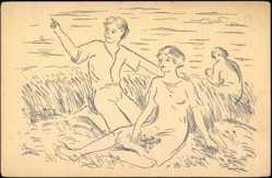 Künstler Ak Janicek K., Maj, Personen auf dem Feld