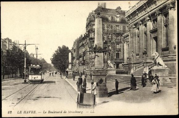postcard le havre bas rhin le boulevard de strasbourg tram. Black Bedroom Furniture Sets. Home Design Ideas