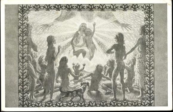 'Anbetung der Hirten, Jesus, Maria' by Fidus