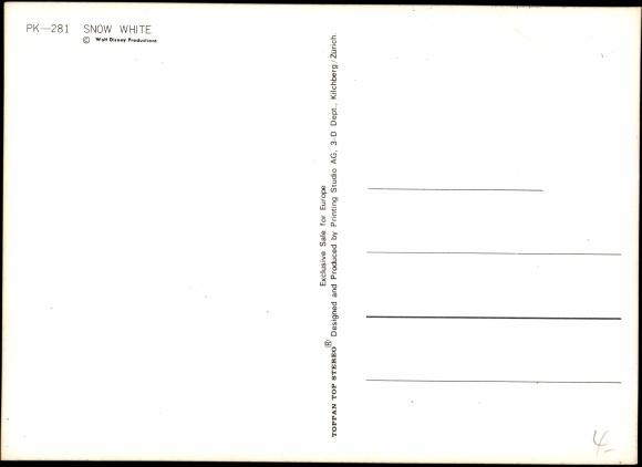 3 d ansichtskarte  postkarte schneewittchen und die