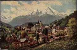 Künstler Ak Treiber H., Berchtesgaden, Ort mit Häusern