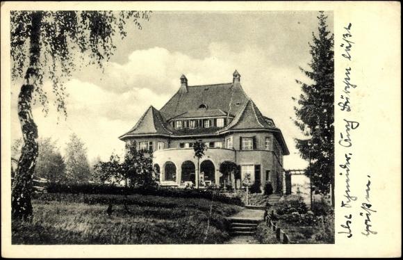 Alte Postkarte Rückansicht des Landhaus Himmelpfort am See, ehemals Haus Eichberg von 1942