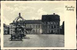 Postcard Hammelburg Unterfranken, Hotel zur Post, Marktplatz