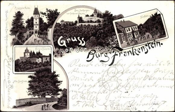 Litho burg frankenstein im mühltal ruine forsthaus