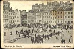 Postcard Warschau Polen, Altstadt, Brunnen, Lombard