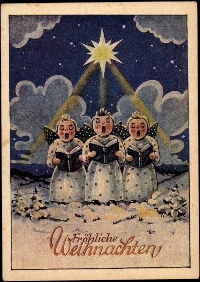 artiste carte postale frohe weihnachten engel singen. Black Bedroom Furniture Sets. Home Design Ideas