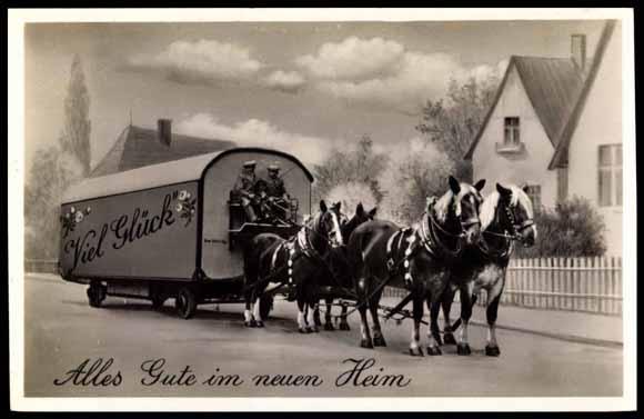 postcard alles gute im neuen heim umzug pferdewagen. Black Bedroom Furniture Sets. Home Design Ideas