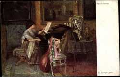 Künstler Ak Temple, H., Musikzimmer, Klavier, Laute