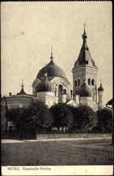 Postcard Mitau Lettland, Russische Kirche, Zwiebeldach, Türme