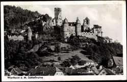 Postcard Wertheim am Main, Schlossruine, Teilansicht der Stadt
