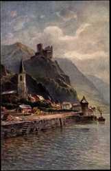 Künstler Ak Astudin, N., St. Goarshausen, Burg Katz, Rhein