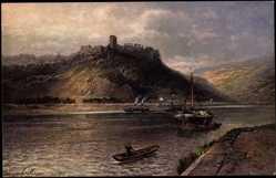 Künstler Ak Astudin, N., St Goar, Burg Rheinfels, Ruinen, Boote auf dem Rhein