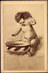 Künstler Ak Zahl, H., Kleines Kind wäscht sich die Haare, Schwamm, Schüssel