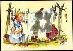 Künstler Ak Salac, A. L., Liebespaar, Kuss hinter einem Laken, Weinendes Mädchen