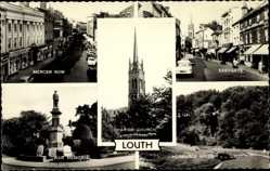 Postcard Louth East Midlands, Mercer Row, War Memorial, Eastgate, Hubbards Hills