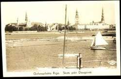 Foto Ak Galvaspilseta Riga, Skats pari Daugavai, Stadt vom Wasser aus