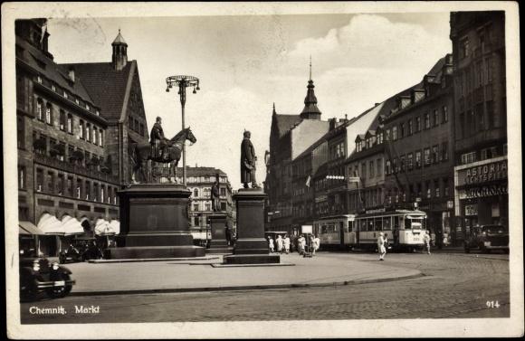 ansichtskarte postkarte chemnitz blick auf den markt bismarckdenkmal stra enbahn. Black Bedroom Furniture Sets. Home Design Ideas