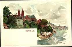 Künstler Litho Voellmy, F., Basel Schweiz, Blick auf die Stadt, Rheinpartie