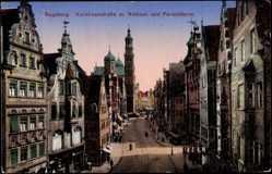 Postcard Augsburg, Karolinenstraße mit Rathaus und Perlachturm