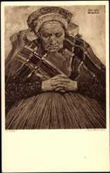 Künstler Ak J. van Brackel, alte Frau in Trachten im Gebet, Kopfbedeckung