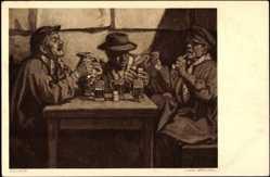 Künstler Ak J. van Brackel, Männer während eines Trinkgelages, Zecher,Biergläser
